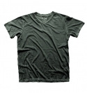 DARK GREEN CRINKLE V-NECK