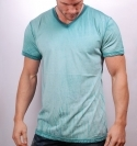 LIGHT AQUA MIXED V-NECK