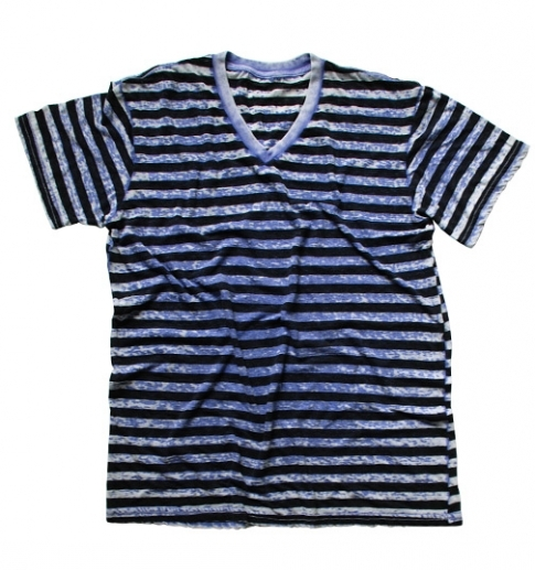 STRIPED V-NECK BURNOUT