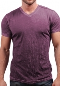 CRANBERRY CRINKLE V-NECK
