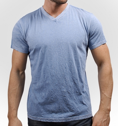 PALE BLUE V-NECK CRINKLE